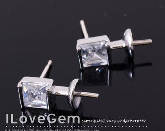 NP-834 Rhodium plated, Square CZ earring, 925 sterling silver post, 2pcs