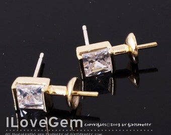 NP-834 Gold plated, Square CZ earring, 925 sterling silver post, 2pcs