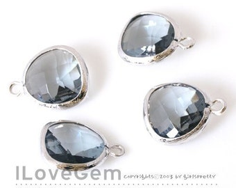 SALE/ 10pcs / P1750 Rhodium plated, Black Diamond, Glass fancy rosecut 12.5mm