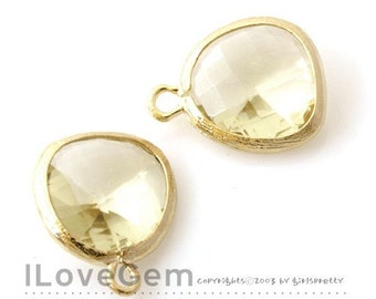 P1750 Gold plated, Jonquil, Glass fancy rosecut 12.5mm, Glass pendant, Framed glass, 2pcs