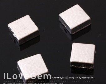 Matt.Rhodium-plated, Pewter, 8mm Square metal beads, 4pcs