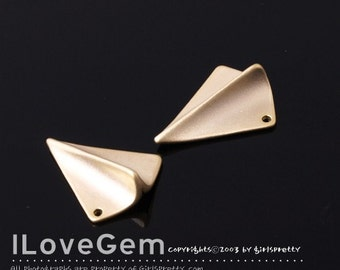 NP-1191 Matt Gold plated over Brass, Paper airplane, 2pcs