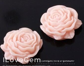 Resin (Lt.Pink) Chiffon  Flower, Cabochon, 8pcs