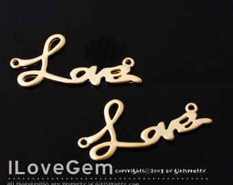 NP-948 Matt Gold plated, Love pendant, 2pcs