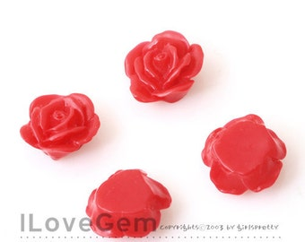 RC139 Resin, Red, Rose Flower 13mm Cabochon, 10pcs