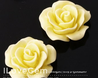 RC157-1 Resin (Yellow) Rose Flower, Cabochon, 8pcs
