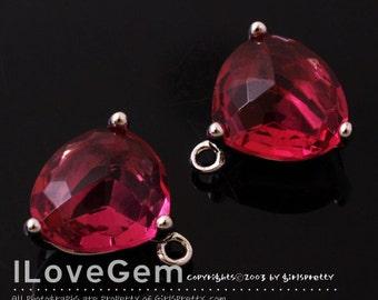 SALE 20% off // 10pcs of NP-993 Rhodium Plated, Trilliant Cut, Ruby, Glass pendant