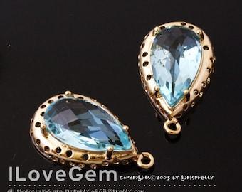 B091 Gold plated, Aquamarine, Glass Drop pendant, 2pcs