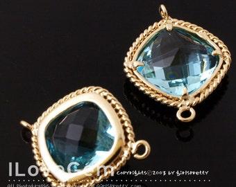 B097 Gold plated, Aquamarine, Glass, Square connector, 2pcs