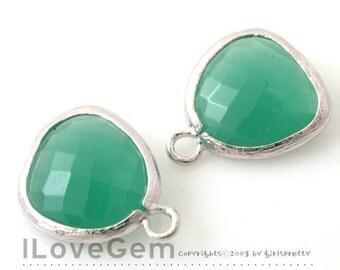 SALE 20% off // 10pcs of P1750 Rhodium plated, PGO, Glass fancy rosecut 12.5mm, Glass pendant, Framed glass