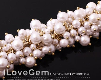 SALE / 100cm / NP-1035 Chain, Gold plated over Brass, with Multi Round white Faux pearl