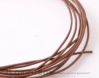 Leather Cord, Round, 1mm, Metalic Caramel Brown, 4Meters