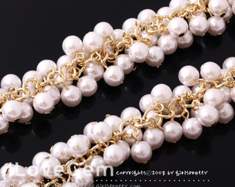 NP-1065 Chain, Gold plated over Brass, with 6mm Round White Faux pearl, Sold per pkg of 20cm