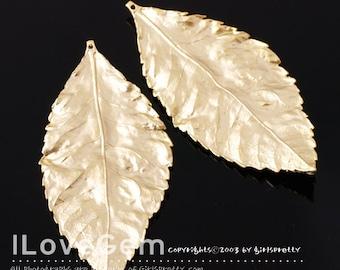 NP-1111 Matt Gold plated over Brass, Leaf pendant, 2pcs