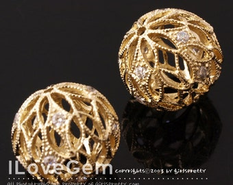 NP-1120 Gold plated over Brass, Filigree Round, Bead, 12mm, 2pcs