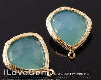 Gold plated, Mint Opal, Glass fancy rosecut 15mm, 2pcs