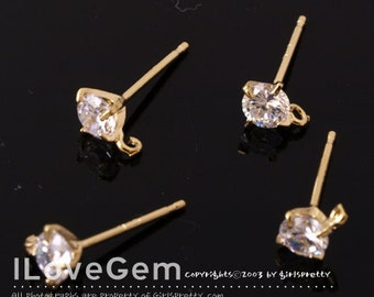 NP-1146 Nickel Free Gold plated, 4mm, Cubic zirconia, 925 sterling silver post, 4pcs