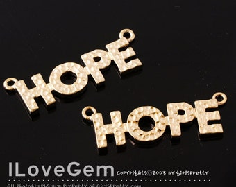 SALE/ 10pcs /  NP-1153 Gold plated, HOPE pendant