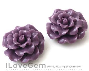 RC188-1 Resin (Purple) Flower, Cabochon, 8pcs