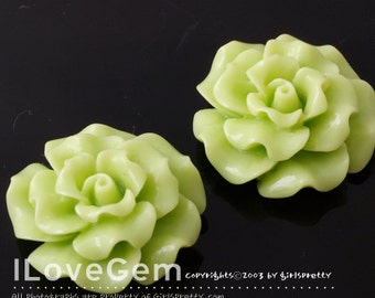 RC188-1 Resin (Apple Green) Flower, Cabochon, 8pcs