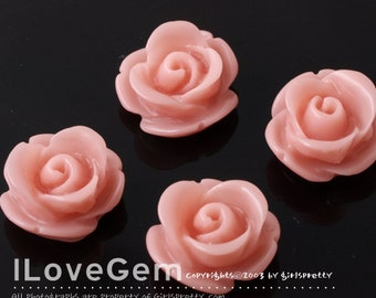 RC059 Resin (IndiPink) Rose Flower 13mm Cabochon, 8pcs