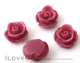 RC059 Resin (Red Purple) Rose Flower 13mm Cabochon, 8pcs