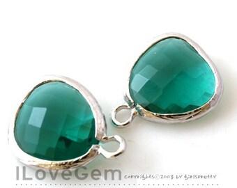 Rhodium plated, Emerald Green, Glass fancy rosecut 12.5mm, 2pcs