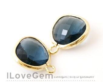 P1750 Gold plated, Montana Blue, Glass fancy rosecut 12.5mm, Glass pendant, Framed glass, 2pcs