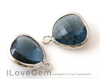 SALE 20% off // 10pcs of P1750 Rhodium plated, Montana Blue, Glass fancy rosecut 12.5mm, Glass pendant, Framed glass