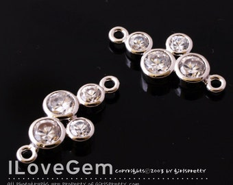 NP-1170 Rhodium-plated, mini 4 CZ, Connectors, 2pcs