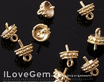SALE/ 40pcs /  NP-860 Gold-plated, Bead cap with peg, Closed Loop