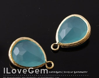 P2760 Gold plated, Mint Opal, Glass drop, 12X17mm, 2pcs