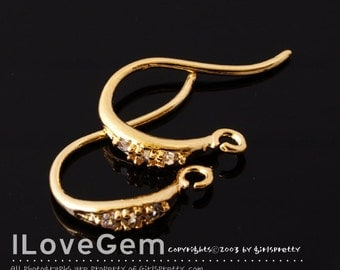 NP-1202 Gold plated over Brass, S-size, Earwire, 4pcs / Wedding Earrings, Bridesmaid earhooks, Bridal jewelry