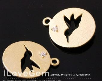 SALE/ 10pcs / NP-1221 Matt Gold plated, Bird, Disc Pendant