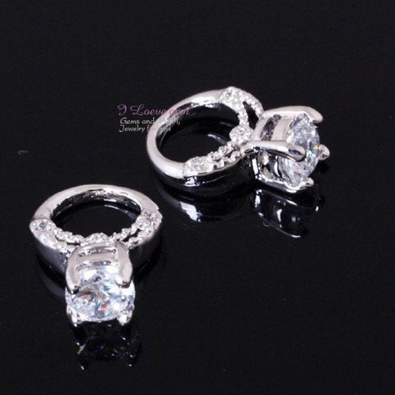 Rhodium-plated, mini Ring pendant, 2pcs
