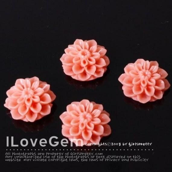 GE-3491 Resin (Coral) Chrysanthemum Flower Cabochon, 8pcs
