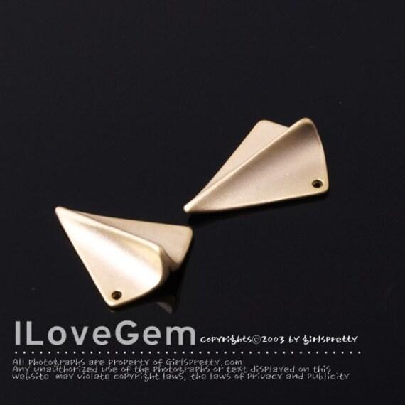 NP-1191 Matt Gold plated over Brass, Paper airplane, 2pcs