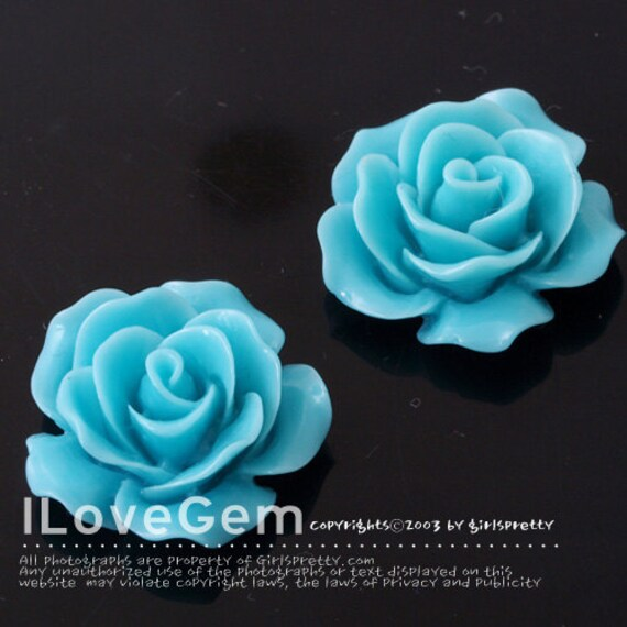 Items similar to RC157-1 Resin (Sky Blue) Rose Flower ...