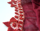 Mothers Day Sale %35 Off Coupon Code MOTHER -Traditional Burgundy Red Scarf Turkish LaceWork Yemeni