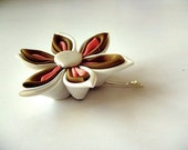Fall Colors Kanzashi Bobby Pin-Cream Dark Mustard and Pumpkin Color Hair Clip