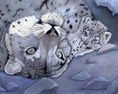 SALE 50% OFF Coupon code: Closingdownsale Nurture 8 x 10 print with border - Support The Snow Leopard Trust