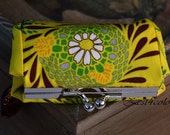 Lipstick Lipbalm Case with mirror silver frame lemon yellow green flower