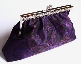 Purple bridesmaid clutch/ evening clutch/ wedding purse/ with silver rhinestone frame