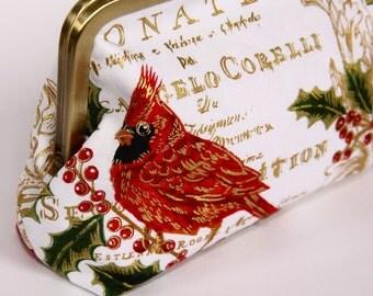 Evening clutch/ Evening purse/ Christmas theme/ red brown birds, red berries/ golden text/ bronze frame.