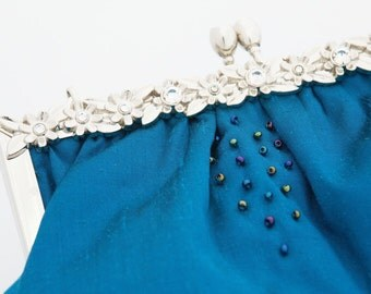 Beaded silk turquoise bridal clutch/ evening Purse/ silver rhinestone frame/ pastel blue Liberty lining