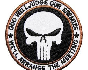 Free shipping White the punisher skull afganistan Patch Badge 7x7cm