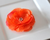 Silk Flower Clip-Rhinestone Centered-Tangerine Orange