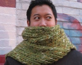 Green Tan Multicolor Heavy Knitted Scarf