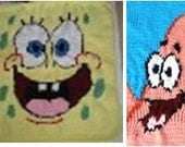 spongebob and patrick together baby blankets 2 patterns for 1 price
