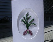 Lily of the Valley cross stitch greeting card